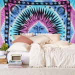 Blend of Purple and Turquoise Multi Sun Moon Tapestry Bedding