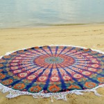 Hippie Plum And Bow Fringed Medallion Mandala Roundie Beach Throw Round Tablecloth