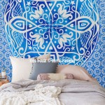 Large Blue Symmetry Medallion Ombre Mandala Wall Tapestry