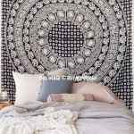 Black and White Multi Elephants Ring Circle Medallion Mandala Tapestry, Boho Bedspread