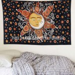 Brown Multi Celestial Sun and Moon Kissing Wall Tapestry