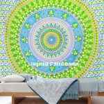 Multi Green Fruitopia Medallion Mandala Tapestry Hippie Bedspread