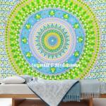 Multi Green Fruitopia Medallion Mandala Tapestry Hippie Bedspread