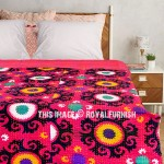 Pink Multi Suzani Floral Printed Twin Kantha Quilt Blanket