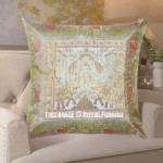 Birds and Elephants Featuring Unique Silk Throw Pillow Cover 16X16 Inch