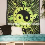Green Chinese Yin Yang Ball Wall Tapestry, Hippie Wall Hanging