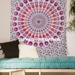 Pink Purple Colorful Chili Medallion Indian Mandala Tapestry
