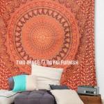 Burgundy Elephants Floral Multi Rings Mandala Bohemian Tapestry