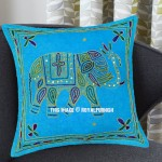 Turquoise Needlepoint 16X16 Decorative Embroidered Elephant Pillow Cover