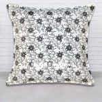 White & Black Small Flowers Hand Block Print Pillow Sham 16 Inch