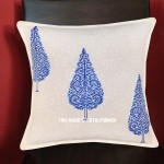 White & Blue Christmas Tree Featuring Hand Block Cotton Pillow Cover 16X16