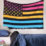 Twin Size Colorful Multi Tie Dye American Flag Tapestry