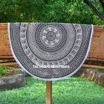 Black & Beige Elephants Rings Medallion Mandala Tapestry