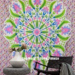 Colorful Wheat Grain Medallion Hippie Mandala Tapestry