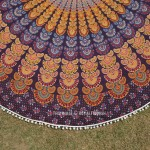 Multi Maroon Colorful Evershine Mandala Roundie Beach Throw