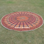 Brown Multi Odette Pom Pom Cotton Mandala Roundie Beach Throw