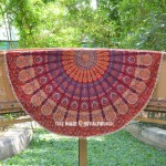 Maroon & Orange Cotton Pom Pom Mandala Beach Roundie