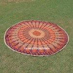 Blend of Brown & Orange Colorful Evershine Mandala Roundie Beach Throw