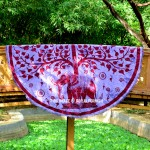 Purple Elephant Under Tree Roundie Beach Throw