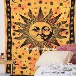 Yellow Psychedelic Sun Face Tapestry