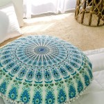 "White Blue Hippie Mandala Round Pom Pom Floor Pillow Cover 32"" Inch"