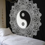 Black & White Yin-Yang Peace on Earth Mandala Wall Hanging Tapestry