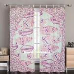 Pink & Purple Summer Feathers Tapestry Curtain Panel Pair 38X84 Inch