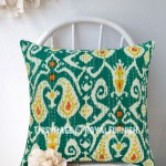 "16"" Gray Zig Zag Multi Ikat Paisley Kantha Cotton Throw Pillow Cushion Cover"