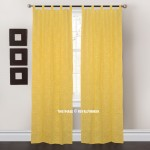 Yellow Floral Curtwork Art Cotton Sheer Curtains Set of 2