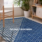 Indigo Blue Waverly Outdoor Indoor Dhurrie Rug 3'X5'