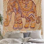 Yellow & Maroon Illusion Elephant Wall Tapestry