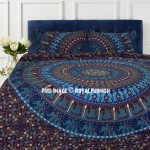 Blue Bohemian Elephant Camel Bedding Mandala Duvet Cover Set with 2 Pillow Cover