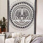 Black & White Boho Hamsa Hand Tapestry Wall Hanging