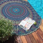 Blue Indian Elephant Camel Bohemian Mandala Beach Roundie Throw