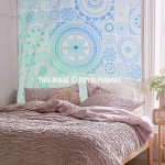 Sea Green & Blue Mandala Pattern Prisma Tapestry Bedspread
