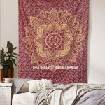 Maroon Sparking Gold Small Geometric Medallion Mandala Tapestry