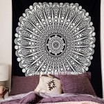 Queen Black & White Spiritual Sun Mandala Wall Tapestry