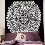 Queen Black & White Spiritual Sun Mandala Wall Tapestry
