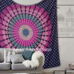 Purple Pink Peacock Mandala Tapestry Wall Hanging