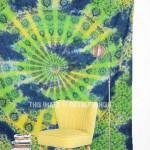 Green & Blue Multi Tie Dye Mandala Medallion Tapestry Throw