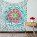 Sea Green Multi Camellias Mandala Hippie Tapestry Wall Hanging