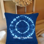 Blue Shibori Medallion Design Indigo Square Throw Pillow Case 16X16 Inch