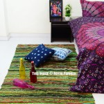 Green Multi Colorful Hand Woven Jaipur Chindi Rag Rug