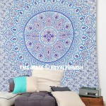 Turquoise Blue Dahlia Bohochic Mandala Wall Tapestry Bedspread