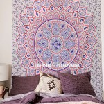 Blue Multi Dahlia Medallion Mandala Throw Bedspread Wall Tapestry