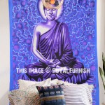 Purple Lotus Sitting Meditation Buddha Tapestry Wall Hanging