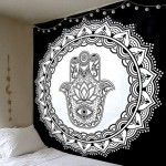 Black & White Medallion Hamsa Hand Wall Tapestry