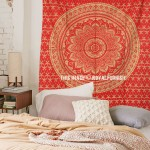 Small Red Shiny Gold Indian Ombre Mandala Wall Tapestry