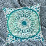 Sea Green Medallion Mandala Cotton Throw Pillow Case 16X16