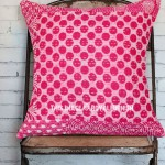 Pink Polka Dots Kantha Throw Pillow Cover